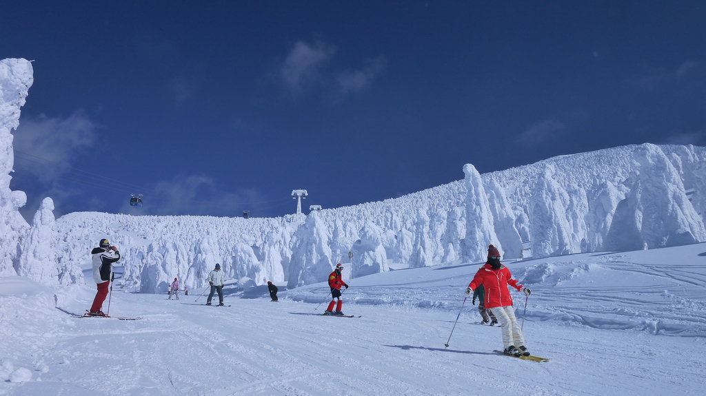 Mount Zao skiing with snow monsters